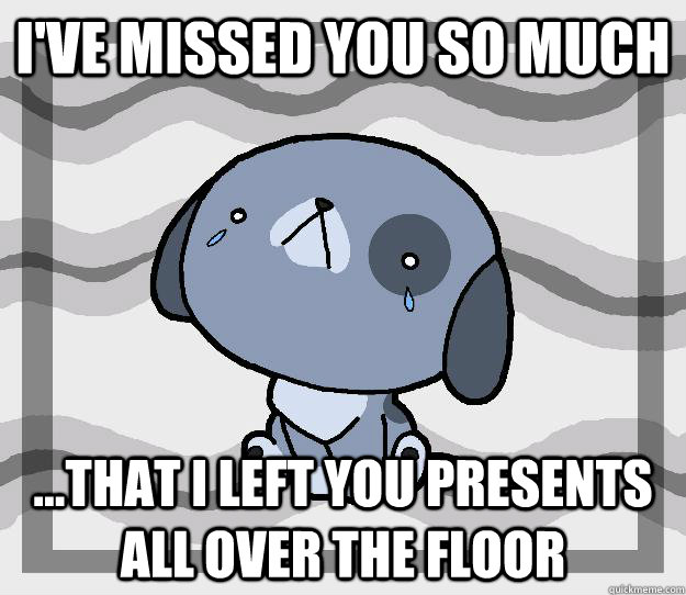I've missed you so much ...that i left you presents  all over the floor