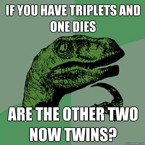 If you have triplets and one dies Are the other two now twins?  Philosoraptor