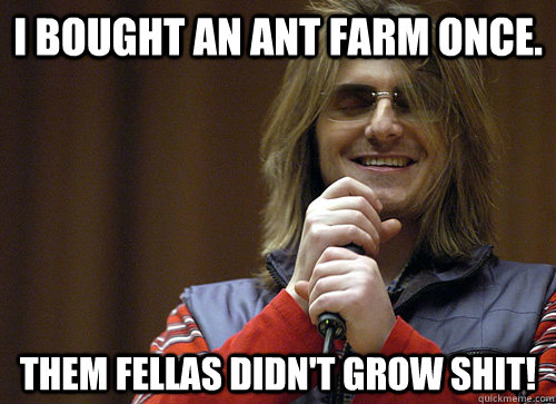 I bought an ant farm once. Them fellas didn't grow shit! - I bought an ant farm once. Them fellas didn't grow shit!  Mitch Hedberg Meme