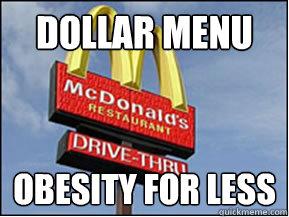 Dollar Menu Obesity for less  McDonalds