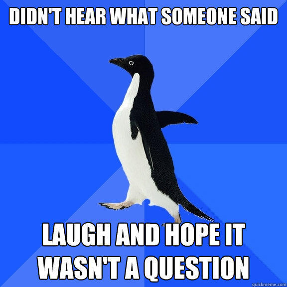 Didn't hear what someone said Laugh and hope it wasn't a question - Didn't hear what someone said Laugh and hope it wasn't a question  Socially Awkward Penguin