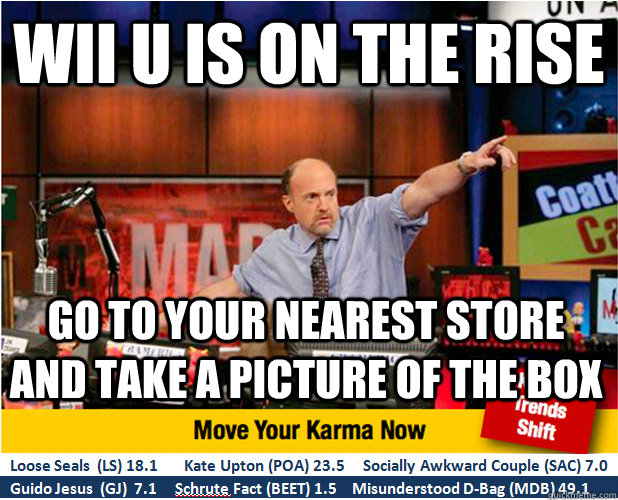 Wii U is on the rise Go to your nearest store and take a picture of the box - Wii U is on the rise Go to your nearest store and take a picture of the box  Jim Kramer with updated ticker