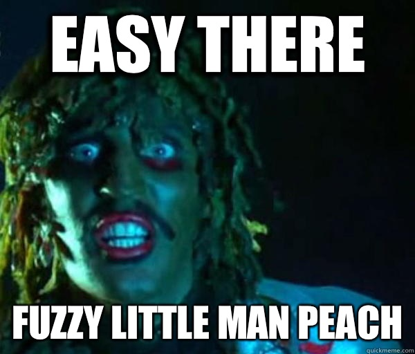 Easy there Fuzzy little man peach  Old gregg
