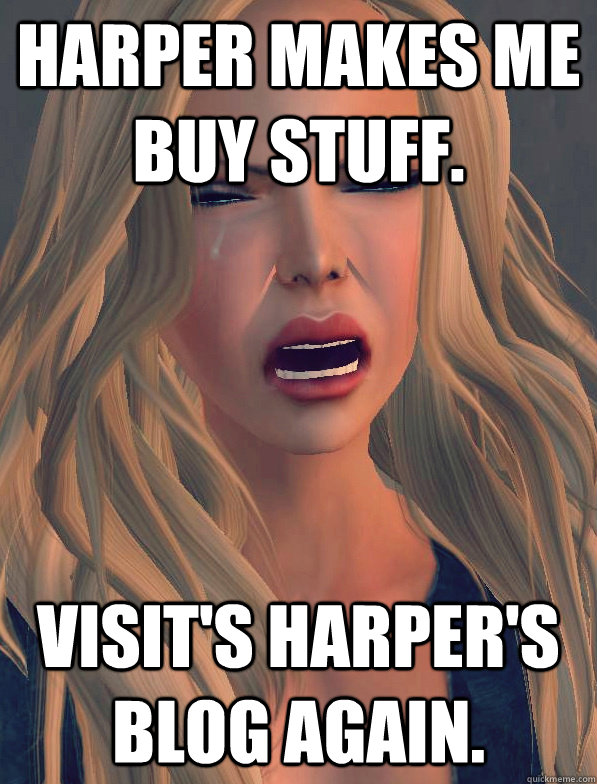 Harper makes me buy stuff. Visit's Harper's blog again.  secondlifeproblems
