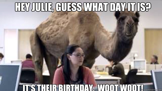 Hey Julie, guess what day it is? It's their birthday.  WOOT WOOT!