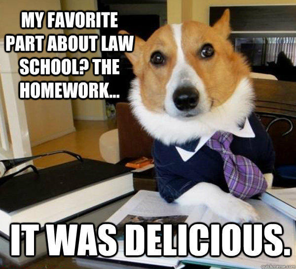 My favorite part about law school? the homework... it was delicious. - My favorite part about law school? the homework... it was delicious.  Lawyer Dog