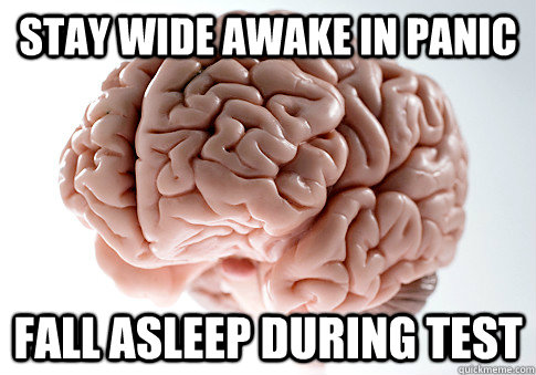 Stay wide awake in panic fall asleep during test - Stay wide awake in panic fall asleep during test  Scumbag Brain