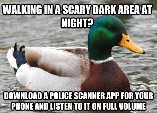 Walking in a scary dark area at night? download a police scanner app for your phone and listen to it on full volume - Walking in a scary dark area at night? download a police scanner app for your phone and listen to it on full volume  Actual Advice Mallard
