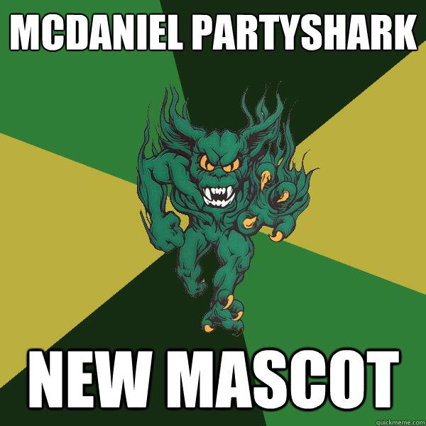 mcdaniel Partyshark new mascot