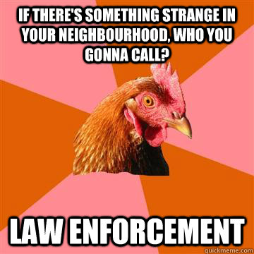 if there's something strange in your neighbourhood, who you gonna call? LAW ENFORCEMENT - if there's something strange in your neighbourhood, who you gonna call? LAW ENFORCEMENT  Anti-Joke Chicken