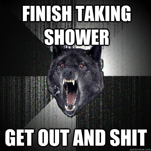 Finish taking shower Get out and shit - Finish taking shower Get out and shit  Insanity Wolf