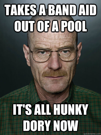 Takes a band aid out of a pool It's all hunky dory now   Advice Walter White