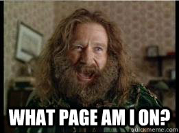 What page am I on? -  What page am I on?  What year is it