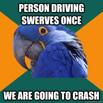 Person driving swerves once We are going to crash - Person driving swerves once We are going to crash  Paranoid Parrot