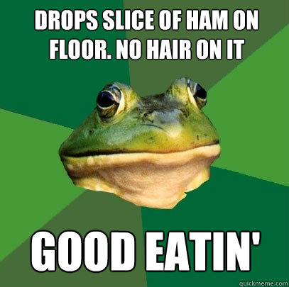 drops slice of ham on floor. no hair on it good eatin' - drops slice of ham on floor. no hair on it good eatin'  Foul Bachelor Frog