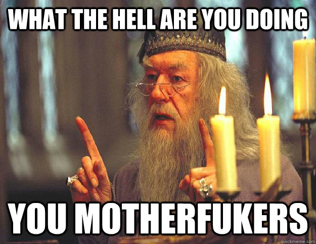 What the hell are you doing You motherfukers  Scumbag Dumbledore