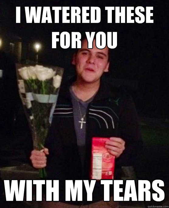 I watered these for you with my tears - I watered these for you with my tears  Friendzone Johnny