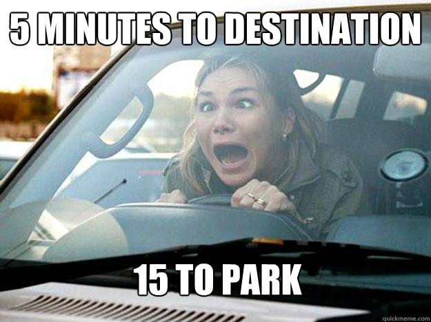5 minutes to destination 15 to park - 5 minutes to destination 15 to park  Mayhem Female Driver