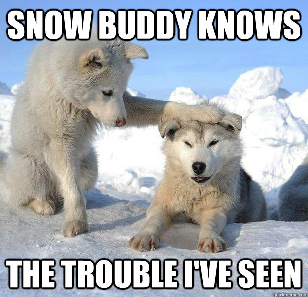 snow buddy knows the trouble i've seen