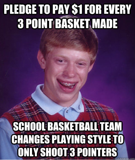 Pledge to pay $1 for every 3 point basket made School basketball team changes playing style to only shoot 3 pointers - Pledge to pay $1 for every 3 point basket made School basketball team changes playing style to only shoot 3 pointers  Bad Luck Brian
