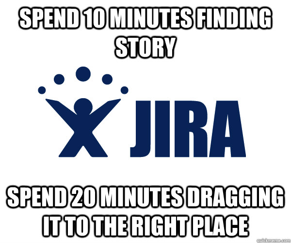 spend 10 minutes finding story spend 20 minutes dragging it to the right place - spend 10 minutes finding story spend 20 minutes dragging it to the right place  Misc