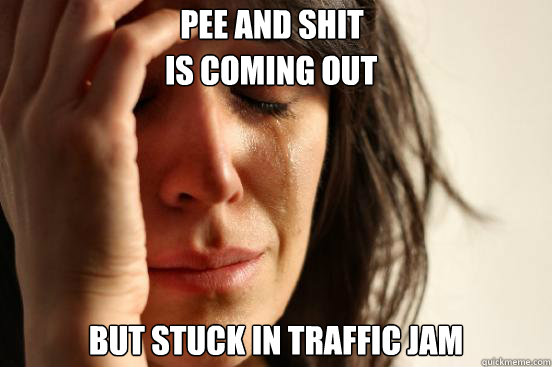 Pee and Shit  but stuck in traffic jam Is coming out - Pee and Shit  but stuck in traffic jam Is coming out  First World Problems