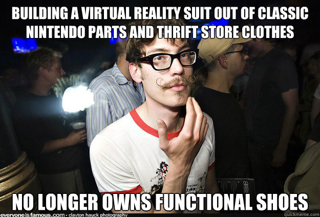 Building a virtual reality suit out of classic Nintendo parts and thrift store clothes no longer owns functional shoes