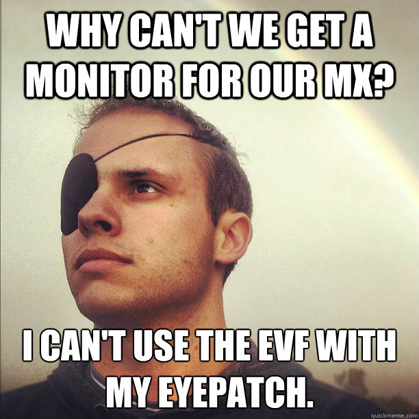 Why can't we get a monitor for our MX? I can't use the EVF with my eyepatch.