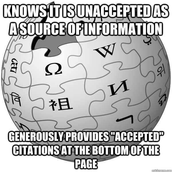 Knows it is unaccepted as a source of information GENEROUSLY PROVIDES