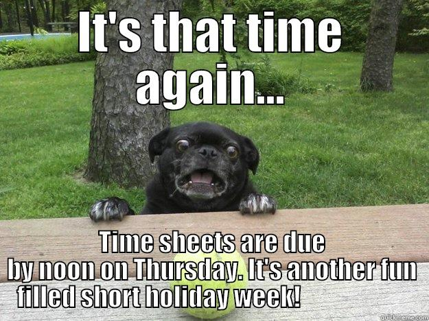 IT'S THAT TIME AGAIN... TIME SHEETS ARE DUE BY NOON ON THURSDAY. IT'S ANOTHER FUN FILLED SHORT HOLIDAY WEEK!                       Berks Dog