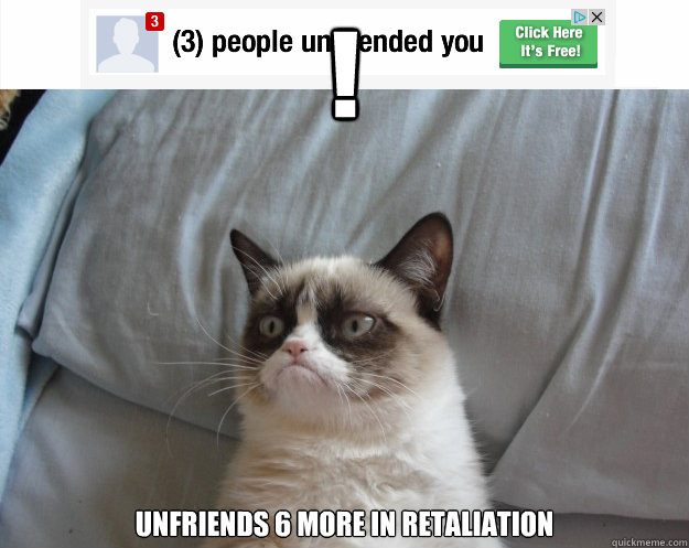 ! Unfriends 6 more in retaliation   - ! Unfriends 6 more in retaliation    Grumpy Cat on Being Unfriended