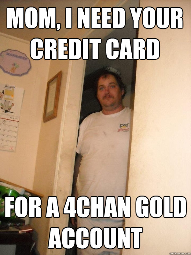 Mom, I need your credit card for a 4chan gold account