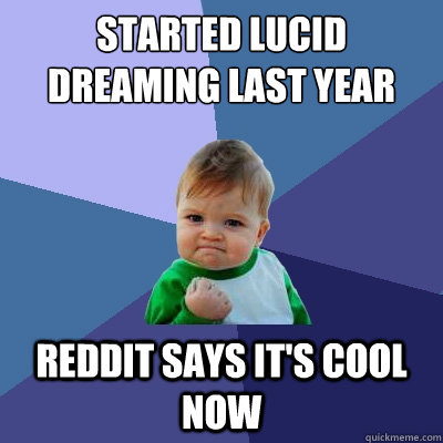Started lucid dreaming last year reddit says it's cool now - Success