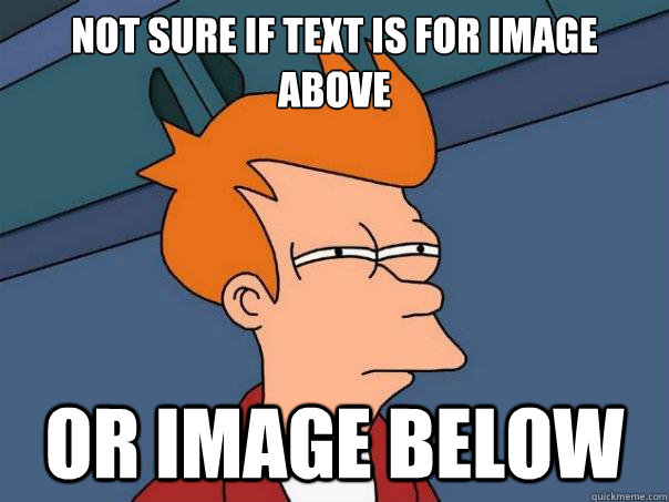 Not sure if text is for image above or image below - Not sure if text is for image above or image below  Futurama Fry