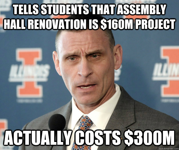 Tells students that assembly hall renovation is $160M project Actually costs $300M - Tells students that assembly hall renovation is $160M project Actually costs $300M  Misc