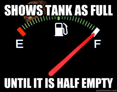 Shows Tank As Full Until It Is Half Empty