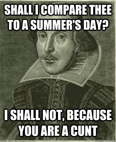 Shall I compare thee to a summer's day? I shall not, because you are a cunt