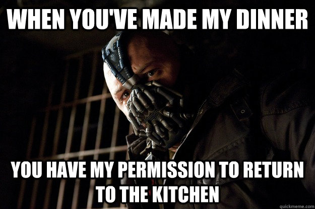 When you've made my dinner you have my permission to return to the kitchen - When you've made my dinner you have my permission to return to the kitchen  Angry Bane