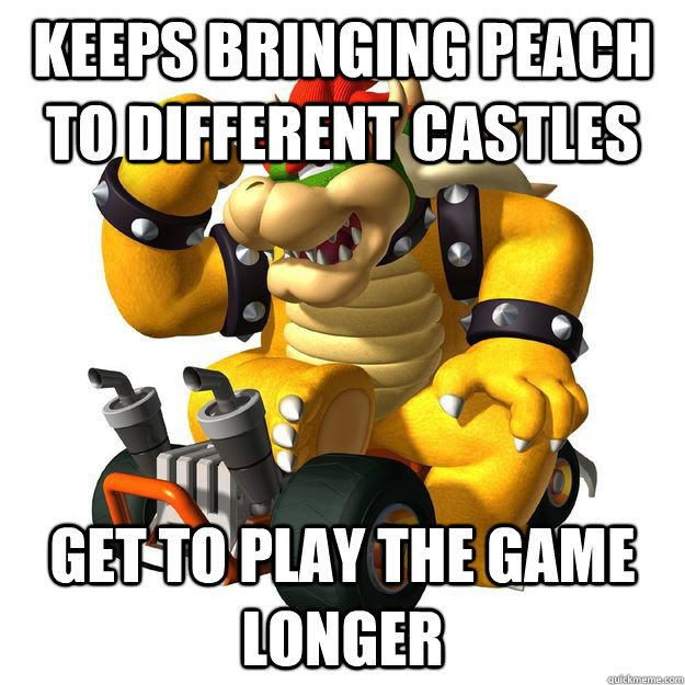 Keeps bringing peach to different castles get to play the game longer