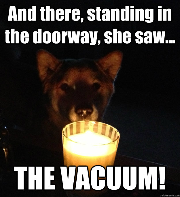 And there, standing in the doorway, she saw... THE VACUUM!