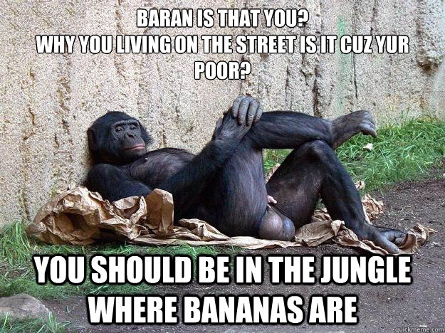 Baran is that you?  why you living on the street is it cuz yur poor? you should be in the jungle where bananas are