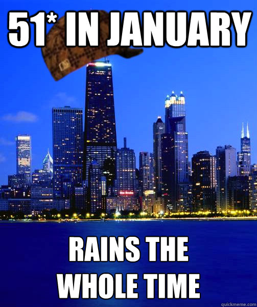 51* in January Rains the  whole time - 51* in January Rains the  whole time  Scumbag Chicago Sports