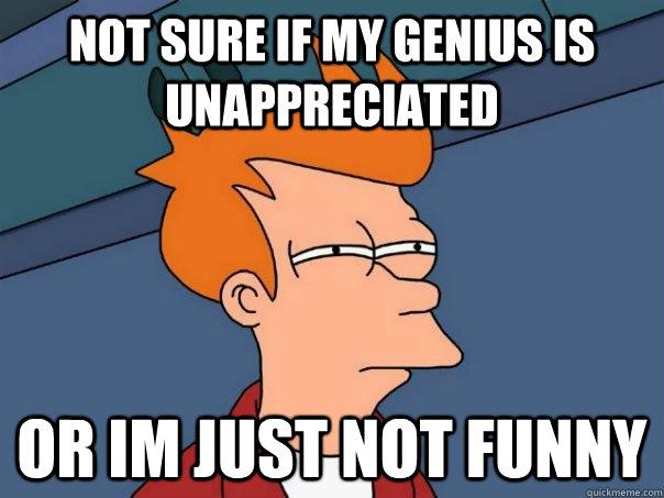 Not sure if my genius is unappreciated or im just not funny - Not sure if my genius is unappreciated or im just not funny  Futurama Fry