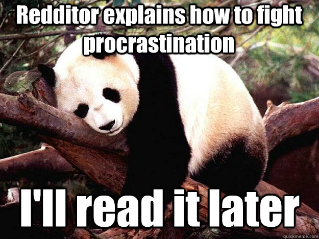 Redditor explains how to fight procrastination I'll read it later - Redditor explains how to fight procrastination I'll read it later  Procrastination Panda