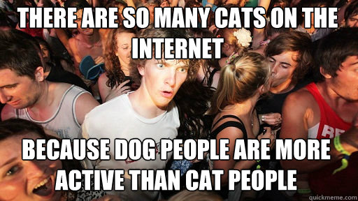 There are so many cats on the internet  because dog people are more active than cat people - There are so many cats on the internet  because dog people are more active than cat people  Sudden Clarity Clarence