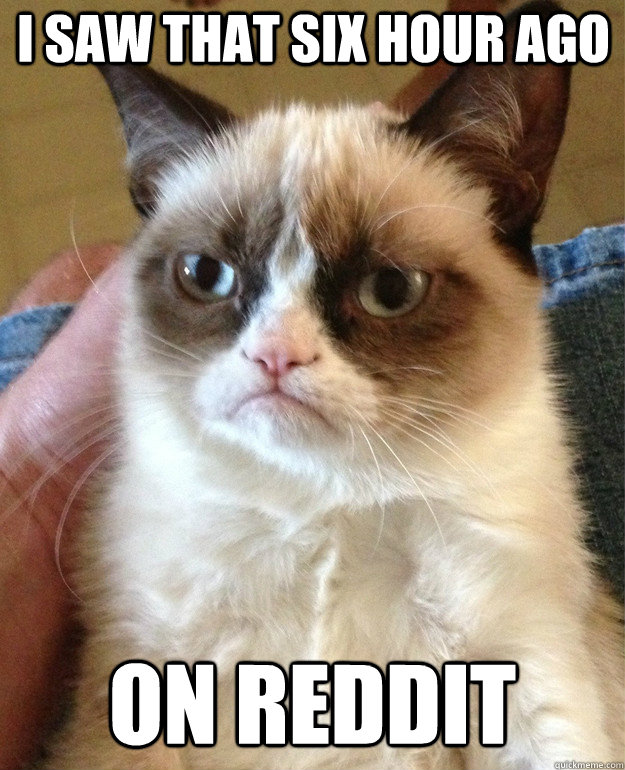 I saw that six hour ago on reddit - I saw that six hour ago on reddit  Grumpy Cat