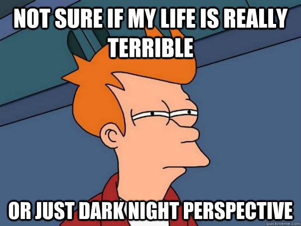 Not sure if my life is really terrible Or just dark night perspective - Not sure if my life is really terrible Or just dark night perspective  Futurama Fry