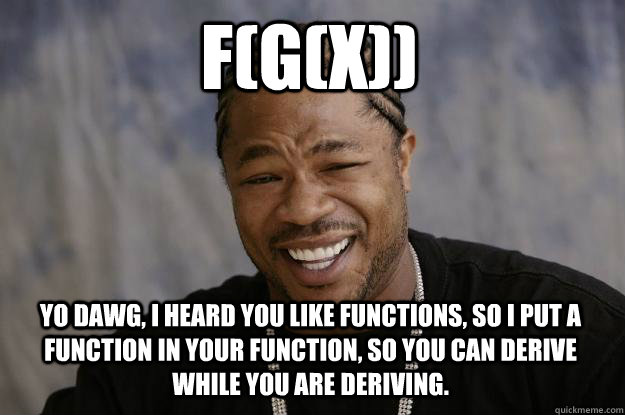 F(G(X)) Yo dawg, I heard you like functions, so I put a function in your function, so you can derive while you are deriving. - F(G(X)) Yo dawg, I heard you like functions, so I put a function in your function, so you can derive while you are deriving.  Xzibit meme