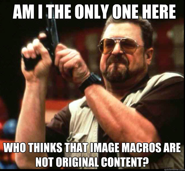 AM I THE ONLY ONE HERE WHO THINKS THAT Image macros are not Original content?