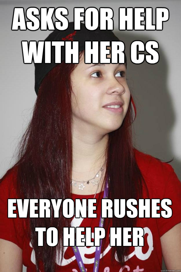 Asks for help with her CS Everyone rushes to help her - Asks for help with her CS Everyone rushes to help her  Poly Girl